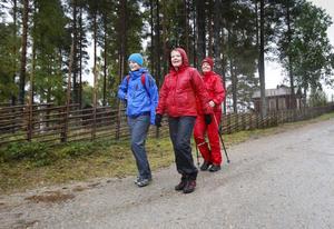 På väg mot lunchpaus i hembygdsgården: Emma Bergqvist, Åsa Lindberg och Torgerd Örbacke Bergqvist.