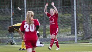 Lotta Nurmilehto blev Västanfors främsta målskytt den här säsongen, med tio fullträffar. Det gjorde henne till seriens näst bästa målgörare. Foto: Arkiv