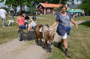 Hästintresse. Det fanns gott om saker att göra på hembygsfesten i Snavlunda igår. Isabella Johansson, 4 år, och lillebror Jonathan, 1 år, passade på att ta med mamma Sarah Andersson på lite ponnyäventyr. Alexandra Granqvist ser till att ekipaget går rätt väg.