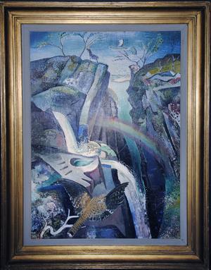 Leander Engströms praktmålning Falken, regnbågen, vattenfallet, pryder omslaget till den stora katalogen.