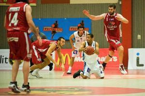 Det blev en rafflande avslutning när Jämtland i går kväll spelade mot Gothia i Basketligan. Jämtland föll med ynka en poäng, (70–71).Foto: Christian Johansson.