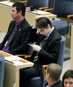 11 oktober 2012. Johnny Skalin i samband med riksdagens öppnande. Drygt en månad senare sade han ifrån sig rätten till sjukersättning.