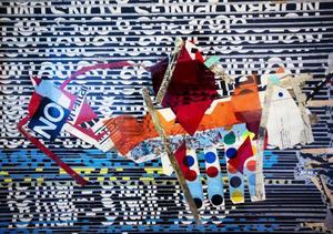 Kjartan Slettemark använde sig av en mängd material i sina verk. Allt som fanns till hands kunde bli konst.