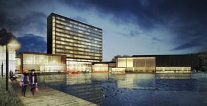 """""""Strandpromenad"""". Den lilla sjön vid Gustavsviksområdet kommer att grävas ut och bli mycket större så rummen mot söder på det nya aktivitetshotellet kan få sjöutsikt. Illustration: White"""