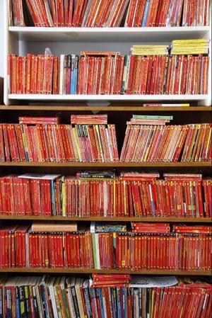 Populär- och  kiosklitteratur  är en viktig källa  för Carl-Johan  De Geers skapande, här en bokhylla med Manhattan-deckare.