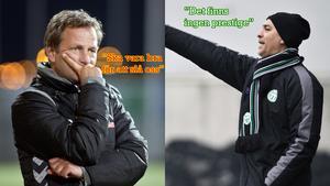 VLT tog tempen på Syrianskas tränare Fredrik Giesecke och VSK Fotbolls tränare Ramin Kiani inför morgondagens derby.