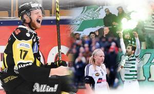 VIK Hockeys Christopher Fish, BK30:s Cassandra Korhonen och VSK Fotbolls Karwan Safari är tre av huvudpersonerna är Sporten sänder live denna vecka.