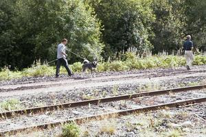 Hundägarna fick först följa med Sten-Åke Rönnqvist utefter järnvägsspåret där han hade lagt ut ett doftspår med hjälp av ett björnskinn.