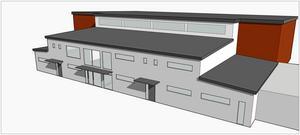 Plats för rörelse. Så här är det tänkt att den¿ nya idrottshallen i Vivalla ska se ut. Den kommer att ligga på samma plats som den gamla och blir ungefär lika stor. De grå väggarna på skissen kommer i verkligheten att bli svarta.