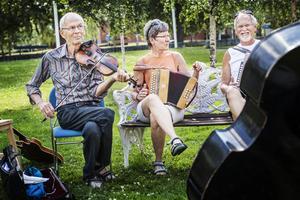 Olle Hemmingsson, Eva Lundqvist och Tage Lundqvist spelar tillsammans inför Gla'musikfestivalen i Hallen.