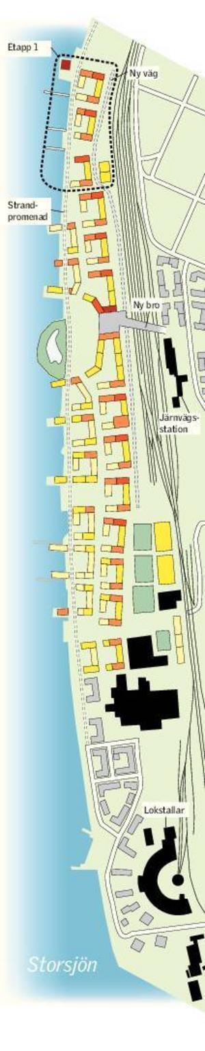 Det inringade området längst upp på skissen är aktuellt att bygga först.