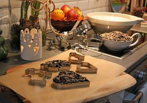 Med solrosfrön, kokosfett och pepparkaksformar gör Eva julgodis till fåglarna. Kokosfettet smälter man och blandar med fröna, sedan pytsar man smeten i formar och ställer svalt så att fettet stelnar igen. Kom ihåg att göra hål i