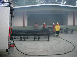 Det brann framme vid scenen på Östra berget.
