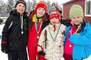 Alexander Ek och Jon Zachrisson från årskurs 3 i Sveg och Malva Zackrisson och Matilda Persson från årskurs 1 i Sveg, tyckte det var kul att tävla i Härjulfaspelen.
