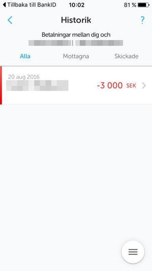 Den 20 augusti i år swishade den 26-åriga kvinnan över 3 000 kronor till bloggerskan.