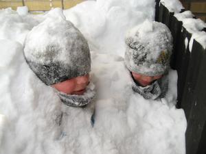 Mattias och Vincent försvinner nästan i snön