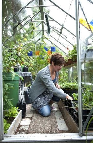 Eva Wallbom arbetar som undersköterska på vinterhalvåret och som trädgårdsmästare på sommarhalvåret i Köpings kommun.