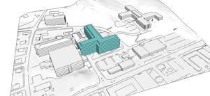 Ett nytt vårdblock kan läggas ut på Hudiksvalls sjukhusområde på det här sättet. Skissen visar ingen tänkt byggnad utan representerar den volym som verksamheten väntas behöva.