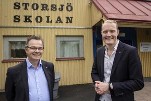Pär Löfstrand (L) och Niklas Daoson (S) presenterade i juni 2016 de stolta planerna för Östersunds skola. Nu tre år senare har projektet i princip gått i  stå. Några pengar har ännu inte avsatts för att förverkliga den miljardsatsning som då utlovades.
