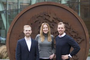 Glada samarbetspartners, Jonas Karles (Mina Tjänster), Emma Heimonen (Swedbank) och Joakim Sjöblom (Mina Tjänster).