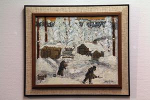 Den gamle soldaten Rask och hans hustru levde ett strävsamt liv i Torraberg i början av 1900-talet. Albin Lind målade dem ur minnet.