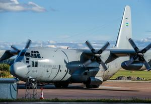 Flygvapnets TP 84 – Lockheed C130 Hercules – på besök i Västerås i samband med försvarsövningen Aurora 17.