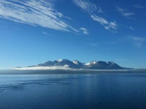Åkte båt på Akkajaure från Ritsem en solig morgon. Otroligt vackert med en dimslöja som dröjde sig kvar framför det mäktiga Akkamassivet.