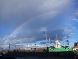 Skulle träna på Feelgood häromdagen och det var en så fin regnbåge. Just som jag tagit fram mobilen för att ta några kort kom ett