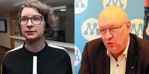 Oppositionsråd Elin Norén (S) och Regionstyrelsens ordförande Ulf Berg (M) lägger ner stridsyxorna och riktar kritik mot sina respektive partikollegor i stället. Foto: DT/montage