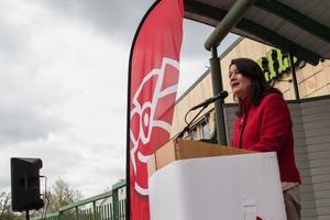 Utrikeshandelsminister Ann Linde (S) berörde EU-valet när hon besökte Fagersta den 1 maj.