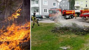 Under söndagen fick räddningstjänsten släcka en brand i en rishög i centrala Härnösand. Bilden till vänster är en arkivbild.