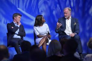 Liberalernas tre partiledarkandidater Erik Ullenhag, Nyamko Sabuni och Johan Pehrson är på turné. Foto: Henrik Montgomery/TT