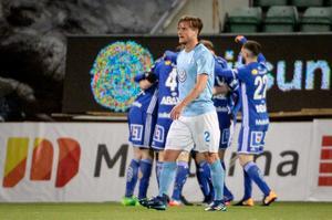 Eric Larsson spelade fram till Carlos Strandbergs 1–1-mål. Bild: Erik Mårtensson/TT.