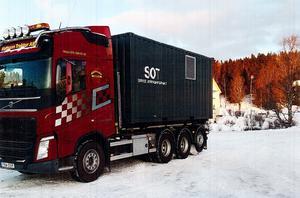 Containern innehållande den utrustning som ska trygga elförsörjningen vid SOT-punkten i Kall levererades nyligen till platsen. Foto: Lars-Åke Landström