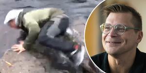 Björn Hellkvist hade fiskelycka – och fiskeolycka, kan man säga. Bild: Privat / Jon Häggqvist/arkiv