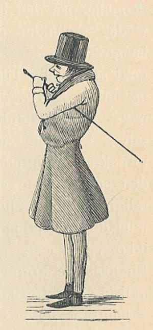 Satirteckning föreställande Søren  Kierkegaard  från 1846.