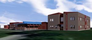 Illustration av Rönnbyskolan med utbyggnad i två våningar. Bild: Archus Arkitektur
