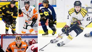 Alexander Younan, Daniel Gunnarsson, Fredric Weigel, Christpher Liljewall och målvakten Johannes Jönsson är alla med på Hockeypuls lista. FOTO: Bildbyrån