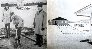 ÖA 14/11 1968. Solängets ordförande Henry Andersson tar första spadtaget till Solängets miljonbygge under överinseende av banans sekreterare Ulrik Pettersson och ingenjör Adrian Winblad, Skånska Cementgjuteriet.