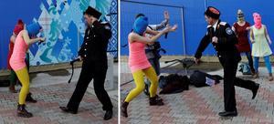 Arkivfoto: TTPussy Riot piskas av en kosack under en aktion i samband med OS i Sotji.