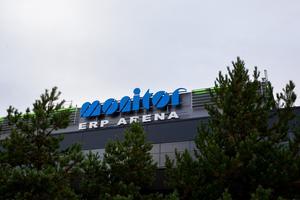 Den nya skylten på Gävles hockeytempel.