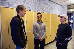 Ali Afaq Talib  med vännerna Anton Naucler och Samuel Carlsson Bengtsson.