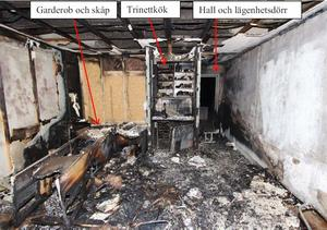 Kriminalteknikernas bild av lägenheten efter branden. Foto: Polisen