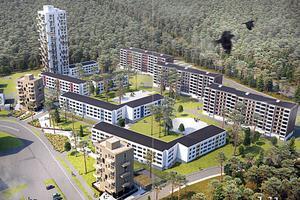 Ett högt hus med upp till 22 våningar och två åttavåningshus byggs vid den befintliga bebyggelsen från 1960-talet. Det blir också plats för  kontor, möteslokal, frisör, närbutik och liknande. Nuvarande bebyggelse på Pettersberg anses som mycket värdefull.  Bild: White arkitekter