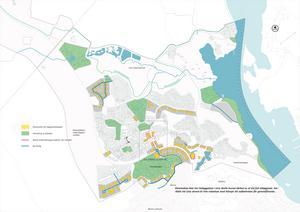 Kartan visar var kommunen har en vision om att bygga bostäder (gulmarkerat), utveckla grönytor, skapa aktiva bottenvåningar med handel och service (rosa markering) samt var man vill dra nya vägar (blå markering). Karta: Södertälje kommun