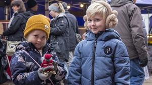 Ida och Albin Karles tyckte det var kul att kika på tomtarna som fanns på julmarknaden.