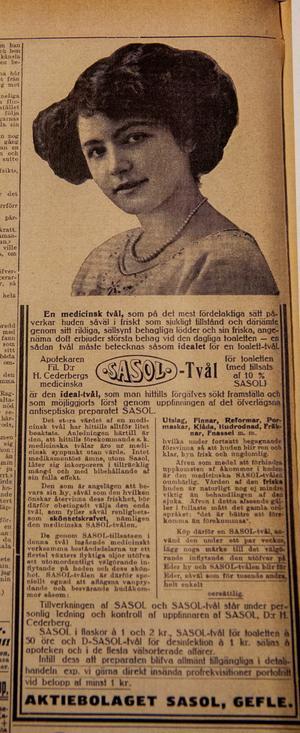 En utförlig annons för Sasol-tvål  från tidiningen Idun från början av 1900-talet. Den utlovade ren, klar, frisk och ungdomlig hy som