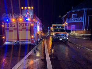 Ett flertal räddningsenheter ryckte ut till platsen efter olyckan. Bild: Brandkåren Norra Dalarna