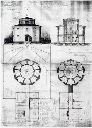 Arkitekten Carl Fredrik Hjelms ritning från 1852 över sitt panoptiska fängelse i Luleå.