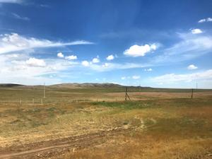 Mongoliet var fascinerande, den karga stäppen såg hon genom sitt kupéfönster, förklarar Lotta. Foto: Lotta Liljelund